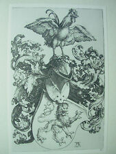 ALBRECHT DURER VINTAGE COPPER ENGRAVING COAT OF ARMS WITH LION AND ROOSTER