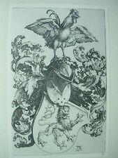 Albrecht DURER VINTAGE incisione su rame Stemma con Leoni e Rooster