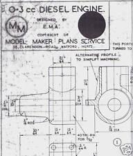 .3cc DIESEL ENGINE Model Maker Ship Boat Plan Design