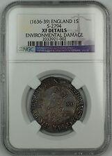 (1636-39)England 1 Shilling S-2794 Charles I NGC XF Det Environmental Damage AKR