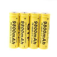 4 × 3.7V GTF 18650 9800mAh Li-ion Rechargeable Battery For LED Flashlight Torch