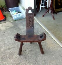 FAB Vintage Carved Wooden Spanish Gothic Medieval Birthing Chair Milking Stool
