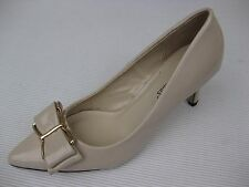 Pierre Dumas Womens Shoes NEW $48 Paris-6 Nude Patent Bow Pump 8.5 M