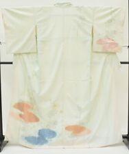 =Japanese Vintage Kimono / silk / Women 61.8inc./ Blue 3nfuji29026