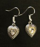 Brighton HEARTS HEIRESS Charms Crystal Earrings Silver Gold Silver Two-Toned