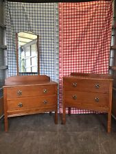 Oak Veneer Bedroom Suite Chest of Drawers Dressing Table Shabby Chic Project