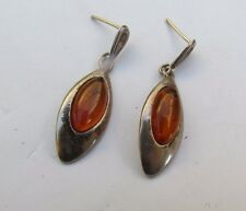 Vintage 925 Sterling Silver earrings from israel 50's, set with Carnelian stone