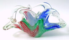 Italian Hand Blown Glass Basket Vase Green Red Blue Clear Murano Style Open