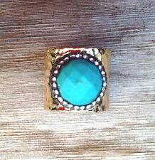 Natural Turquoise Ring Handcrafted Pave Crystal Hematite Zircon Gold Cigar Band