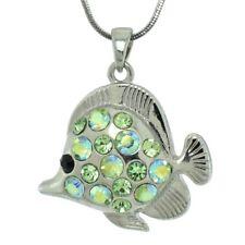 W Swarovski Crystal Green Fish Sea Ocean New Pendant Necklace