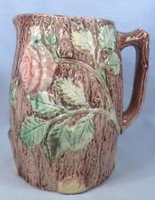 Antique Majolica Pitcher Pink Wild Rose & Tree Bark Glaze Flakes on Spout