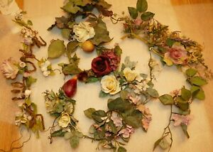 Vintage Plastic Fake Faux Flowers Pink Red Yellow Wrap around Candles, Table Top