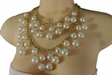 Women Fashion Gold Metal Chain Short Necklace 2 Strands Imitation Pearl Beads