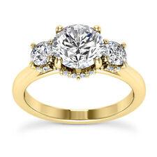 100% Natural 1.48 Carat VVS2/H Round Cut Diamond Engagement Ring Yellow Gold 14k