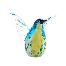 """New 5"""" Hand Blown Art Glass Bird Figurine Sculpture Statue Blue Yellow"""