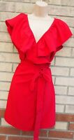 YOINS RED RUFFLE FRILL WRAP WRAPPED BELTED LONG TOP MINI DRESS BLOUSE TUNIC 12