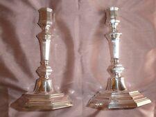 CHRISTOFLE Paire de bougeoirs métal argenté modèle octogonal à gradins Superbe !