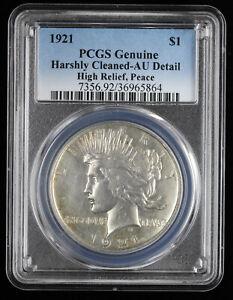 1921 High Relief Peace Dollar $1 PCGS AU Details