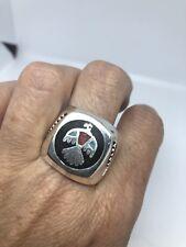 Vintage Southwestern Silver Piedra Incrustación Americano Thunderbird 10.5