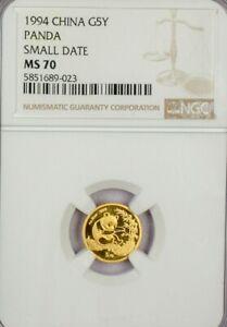 1994 CHINA 5 YUAN 1/20 OZ GOLD PANDA SMALL DATE NGC MS70