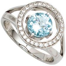 Bestrahlte Ringe mit Edelsteinen aus Weißgold für Damen