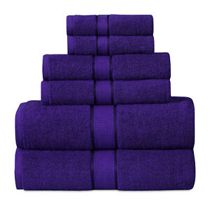 SPA- Hotel Collection 100% Cotton Bath Towels Soft 600 GSM 6 Pack Set - NAVY