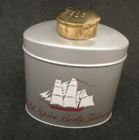 64 year old Vintage Old Spice Body Talcum.Gray Tin,1950's Red Ship. Unique lid