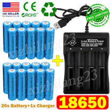 20X UltraFire 3.7V 18*650 Batteries Li-ion Rechargeable Battery Chargers
