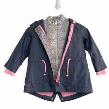 New Girls Target Grey Pink 3-in-1 Vest Jacket Coat 2 Hoodie Drawstring Floral