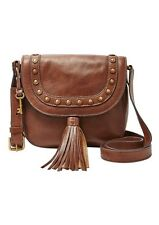 Fossil Emi Brown Leather Tassel Studded Saddle Crossbody Messenger Bag NWT