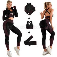 Women Long Sleeve Yoga Set Zipper Crop Top Sport Bra Gym Fitness Suit Red 3 Pcs
