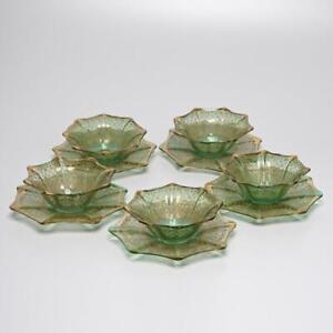 SET OF (5) ANTIQUE BOHEMIAN GREEN GILT ENAMEL ART GLASS FINGER BOWLS W/ SAUCERS