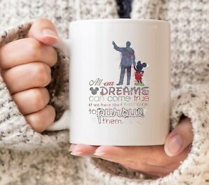DISNEY MICKEY MOUSE ALL OUR DREAMS CAN COME TRUE COURAGE PURSUE CUP MUG