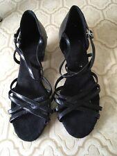 Stephanie Dance Shoes, Black Leather 7 Ballroom Latin