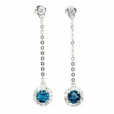 TOP TOPAZ EARRING : Natürliche London Blau Topas Ohrringe Sterlingsilber E252