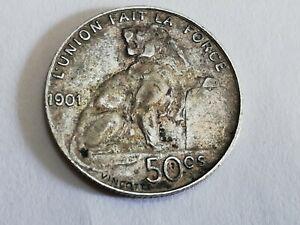 1901 BELGIUM - Original Antique Silver 50 Centimes Coin - King LEOPOLD II