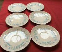 "6 Vtg Royal China BLUE HEAVEN 6 1/4"" saucers Turquoise Gray Atomic MCM"