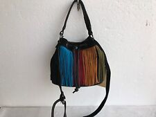 NWT Authentic Patricia Nash Fringe Suede Elisa Bucket Bag Purse Black Multi