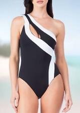 KENNETH COLE® S Black & White One-Shoulder Swimsuit NWT $109