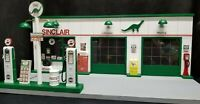 SINCLAIR GAS STATION FRONT W/ 2 PUMP ISLAND, HAND CRAFTED, 1:18TH SCALE, DIORAMA
