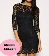 BLACK LACE DRESS PARTY COCKTAIL EVENING SEXY LITTLE BLACK DRESS 3 SIZES