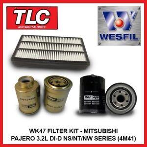 Air Oil Fuel Filter Kit Fits Mitsubishi Pajero 3.2L Di-D NS NT NW Diesel 4M41