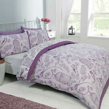 SINGLE BED DUVET COVER SET BIRD CAGE MAUVE LILAC WHITE FLORAL REVERSIBLE BEDDING