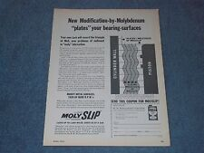 "1962 MolySlip Oil Additive Vintage Ad ""New Modification-by-Molybdenum...."""