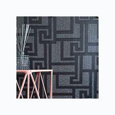 VERSACE PARVUS GREEK KEY LUXURY METALLIC WALLPAPER - BLACK - 96236-3