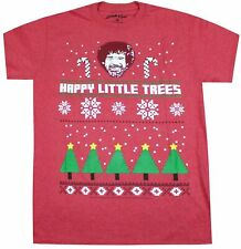 BOB ROSS HAPPY LITTLE TREES T-SHIRT RED MENS UGLY CHRISTMAS TEE RARE CLASSIC NEW