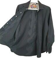 ROBERT GRAHAM Mens SZ L Flip Cuff Black on Black Embroidered Button Front Shirt