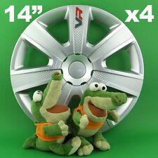 "Hubcaps 14"" VR 4x Wheel Trim Cover CARBON for Alfa Romeo 145 FIAT Panda"