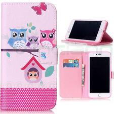 "Custodia flip cover Owls Family per iPhone 7 4.7"" case stand gufo booklet gufi"