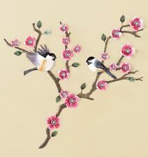 "Metal Cherry Blossom Branches & Song Birds Wall Art Hand Painted 28""H"